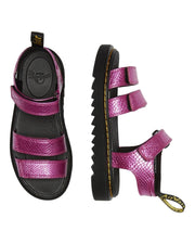 Dr. Martens Junior Klaire Leather Reptile Emboss Strap Sandals - Pink