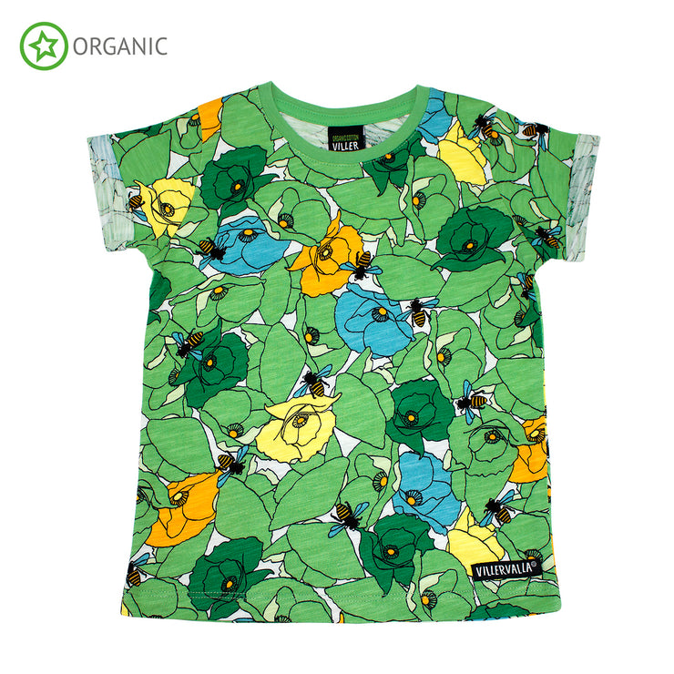 villervalla short sleeve fold up poppy t shirt meadow green