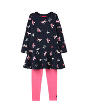 Joules Iona Long Sleeve Dress & Leggings Set - Navy Unicorn Floral