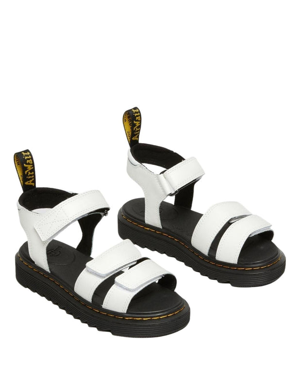 Dr. Martens Junior Klaire Leather Strap Sandals - White T Lamper