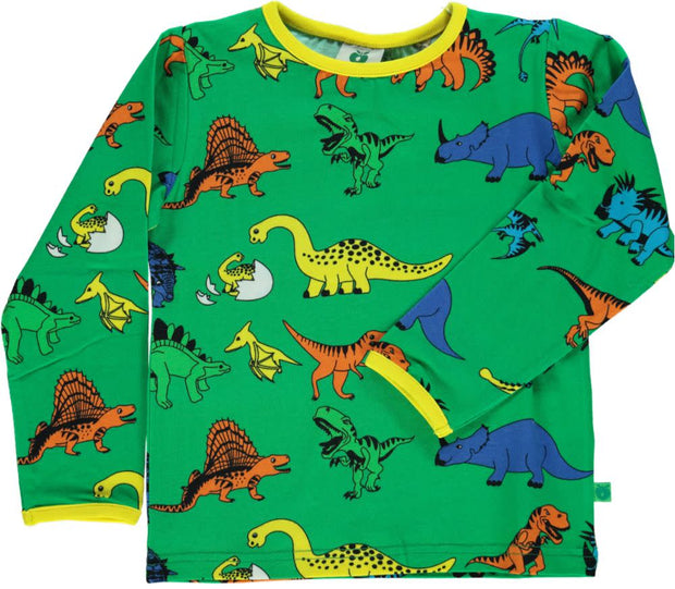 Smafolk Long Sleeve Dino T-Shirt - Apple Green