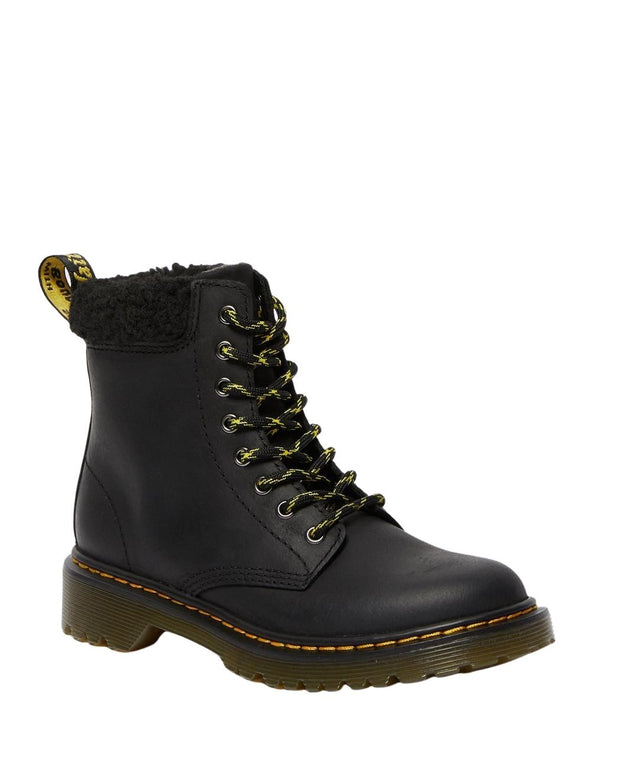 Dr. Martens 1460 Junior Fleece Lined Lace Up Boot - Black