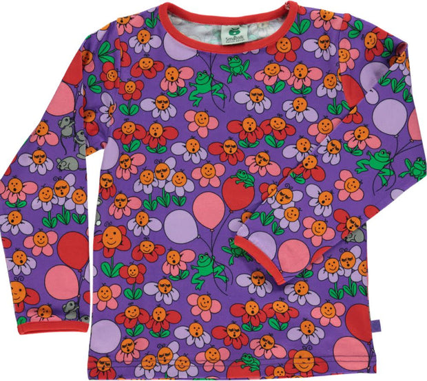 Smafolk Long Sleeve Flower T-Shirt - Purple Heart