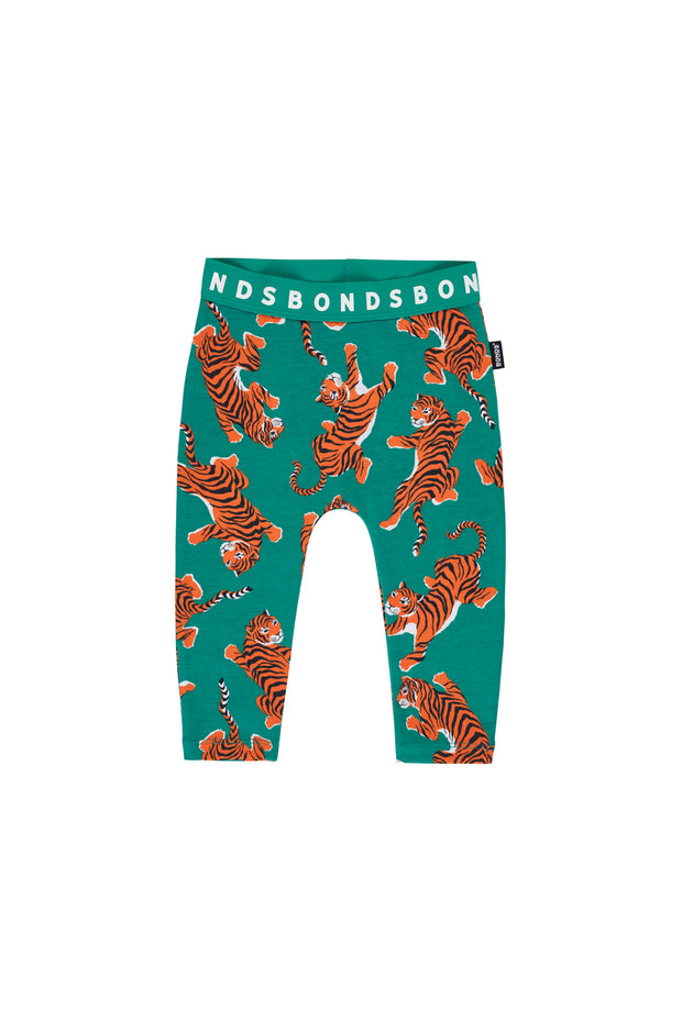 Bonds Stretchies Leggings - Climbing Tigers Green