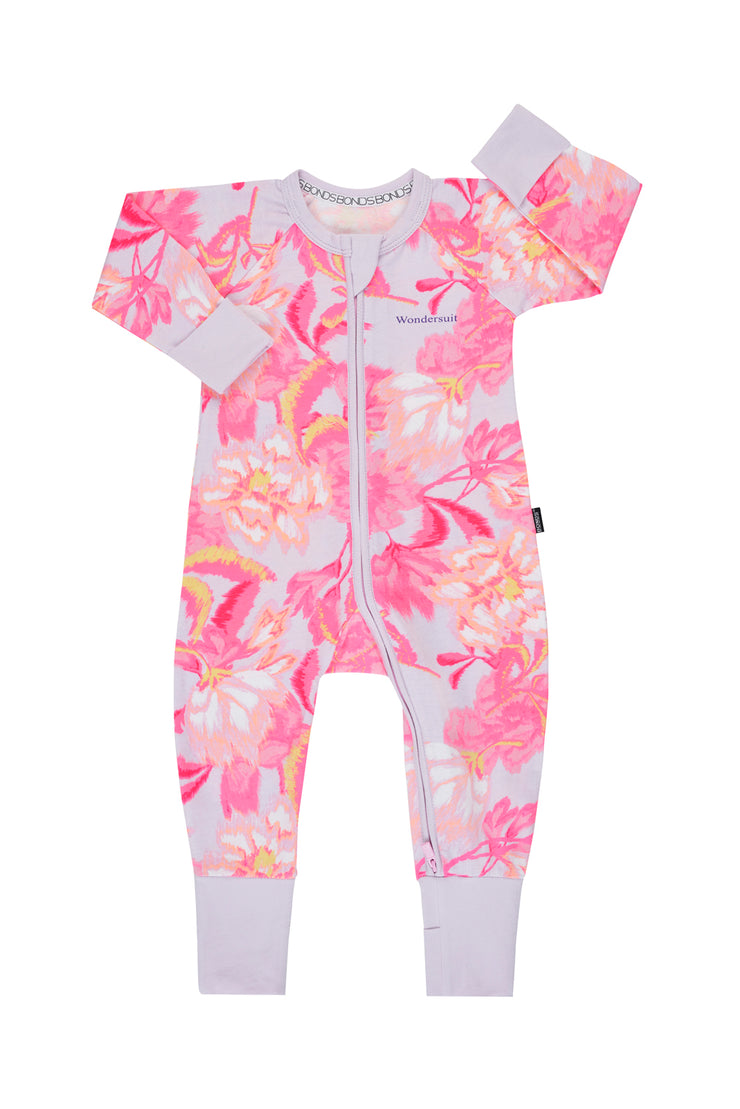 Bonds Zip Wondersuit - Blurred Blooms Pink
