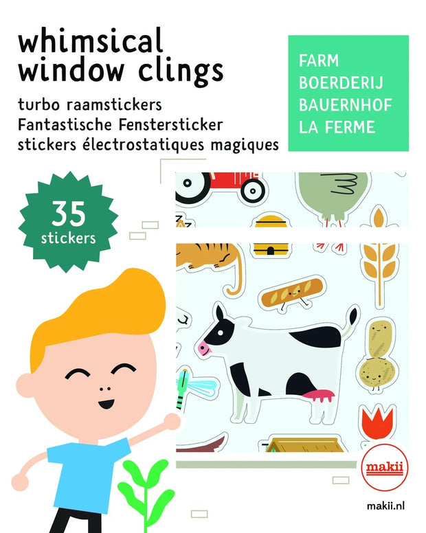 Makii Whimsical Window Clings - Farm