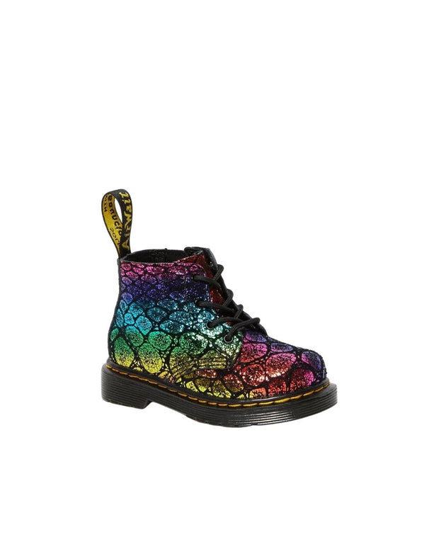 Dr. Martens Infant 1460 Metallic Suede Ankle Boot - Black/Rainbow