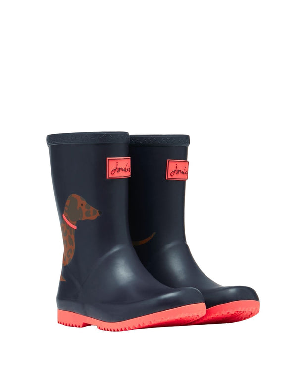 Joules Roll Up Wellies - Blue Sausage Dog