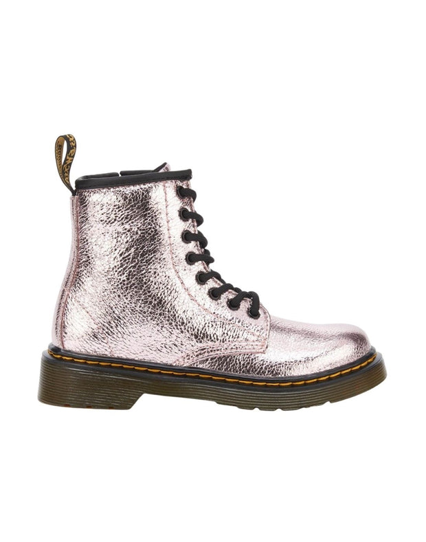 Dr. Martens 1460 Junior Crinkle Metallic Lace Up Boot - Pink Salt