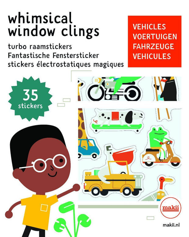 Makii Whimsical Window Clings - Vehicles