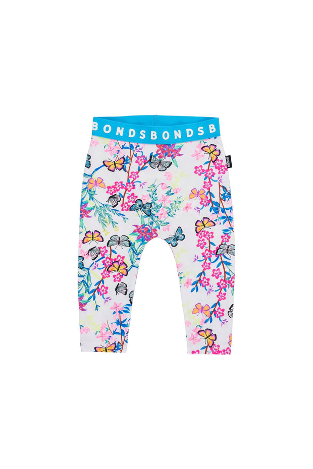 Bonds Stretchies Leggings - Blossoming Butterflies White