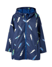 Joules Skipper Printed Glow In The Dark Rubber Coat - Navy Lightning