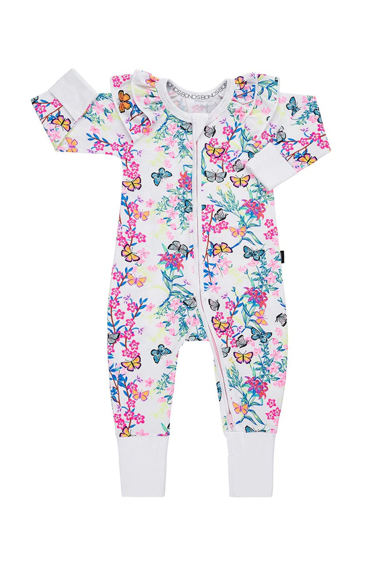 Bonds Frill Zip Wondersuit - Blossoming Butterflies White