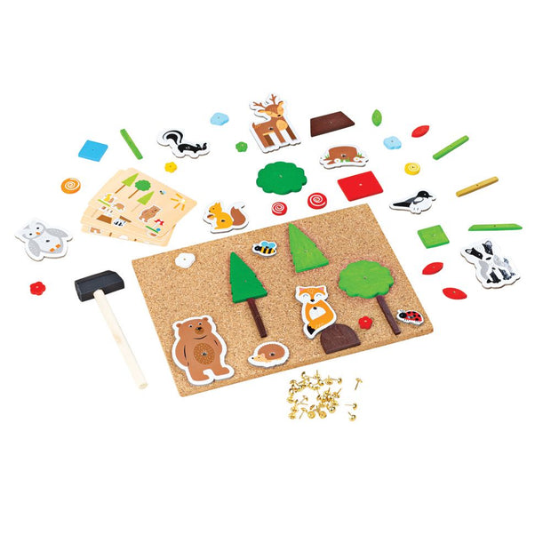 bigjigs toys deluxe pin a shape woodland