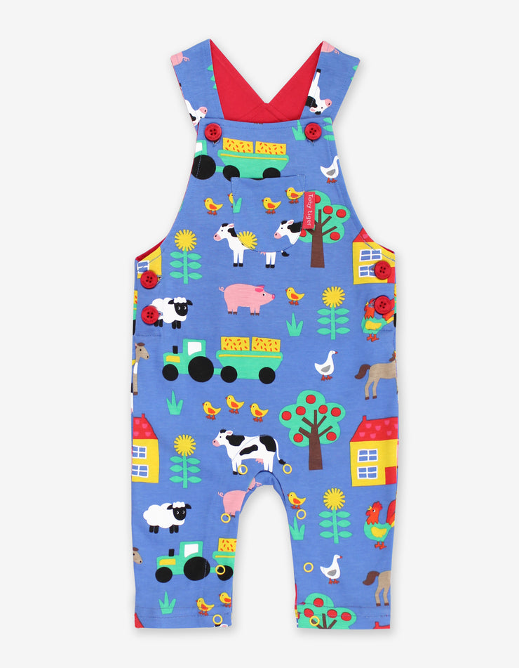 Toby Tiger Organic Print Dungarees - Farm