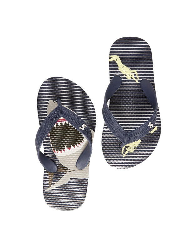 Joules Flip Flops - Blue Stripe Shark