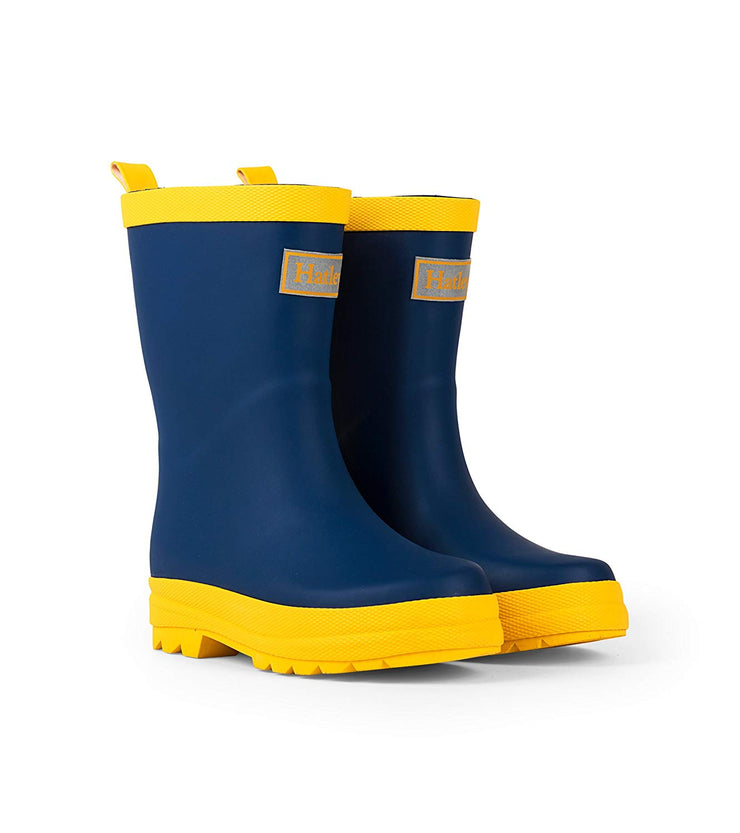 hatley kids matte rain boots navy yellow