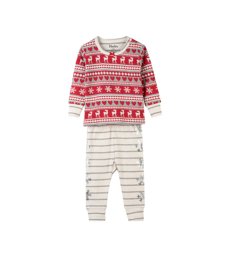 hatley baby long sleeve organic cotton christmas pyjama set fair isle fawn