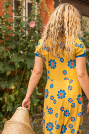 alba of denmark aia a vintage day adult dress bright gold flower power love