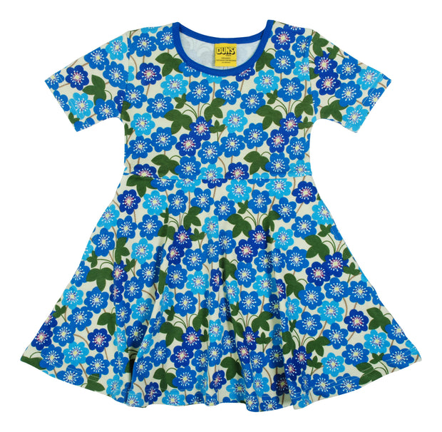 Duns Sweden Short Sleeve Hepatica Nobilis Skater Dress - Blue