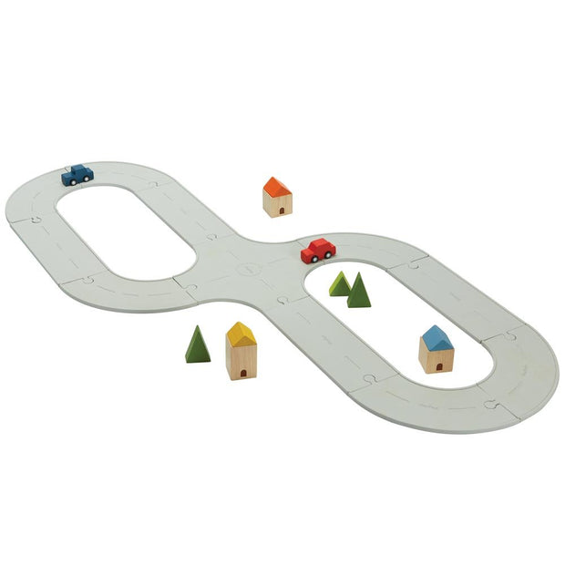 Plan Toys Rubber Road And Rail Set