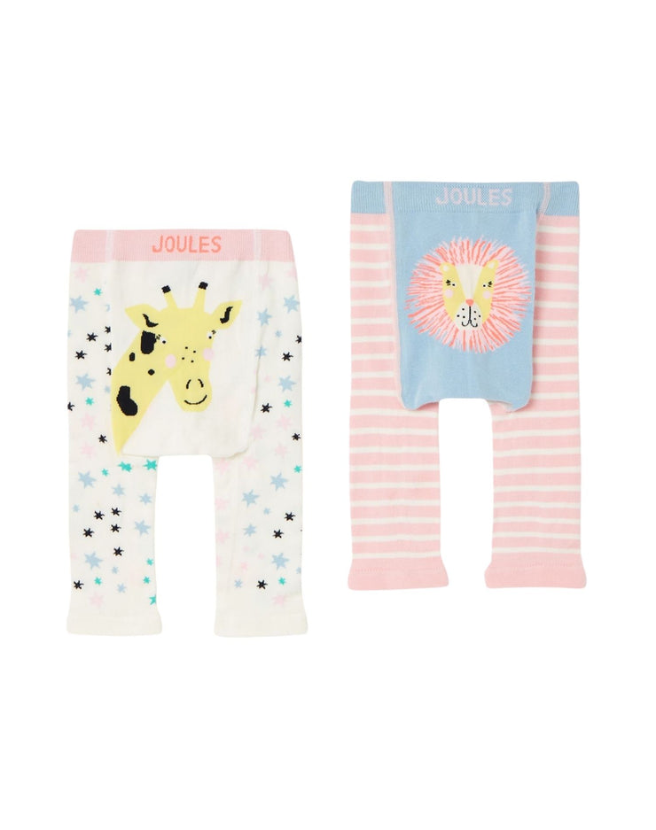 Joules Lively Knitted Leggings Set 2 Pack - Giraffe Lion