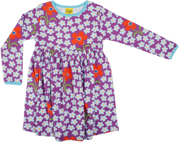 Duns Sweden Long Sleeve Flower Dress With Gathered Skirt - Amethyst