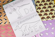 button squirt alphabet of amazing dinosaurs colouring book
