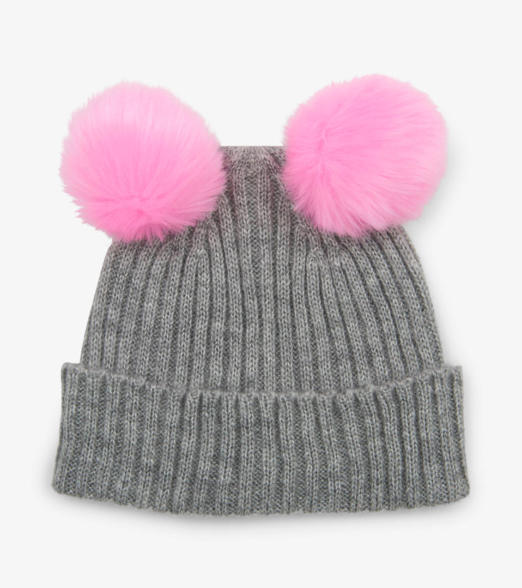 hatley pom pom ears winter hat grey