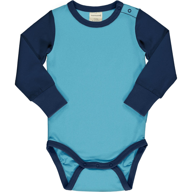 maxomorra long sleeved block body vest navy sky