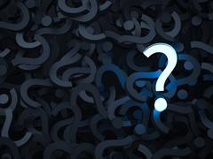 pile of question marks with one glowing