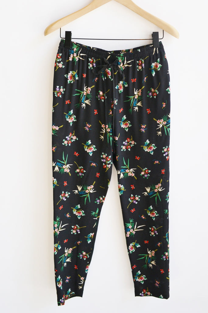 RED Valentino Floral Print Black Pants