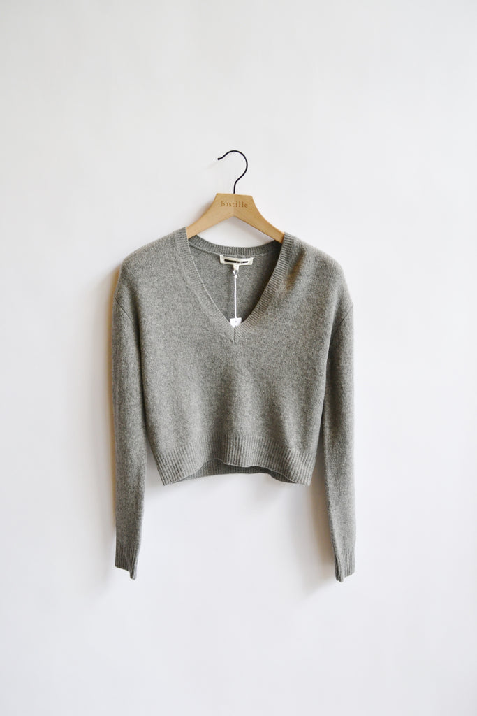 McQ Alexander McQueen Cropped Length Lambswool V-Neck Sweater