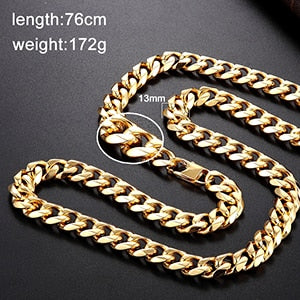Stainless steel men and women models solid color necklace length chain punk fashion jewelry length can be customized