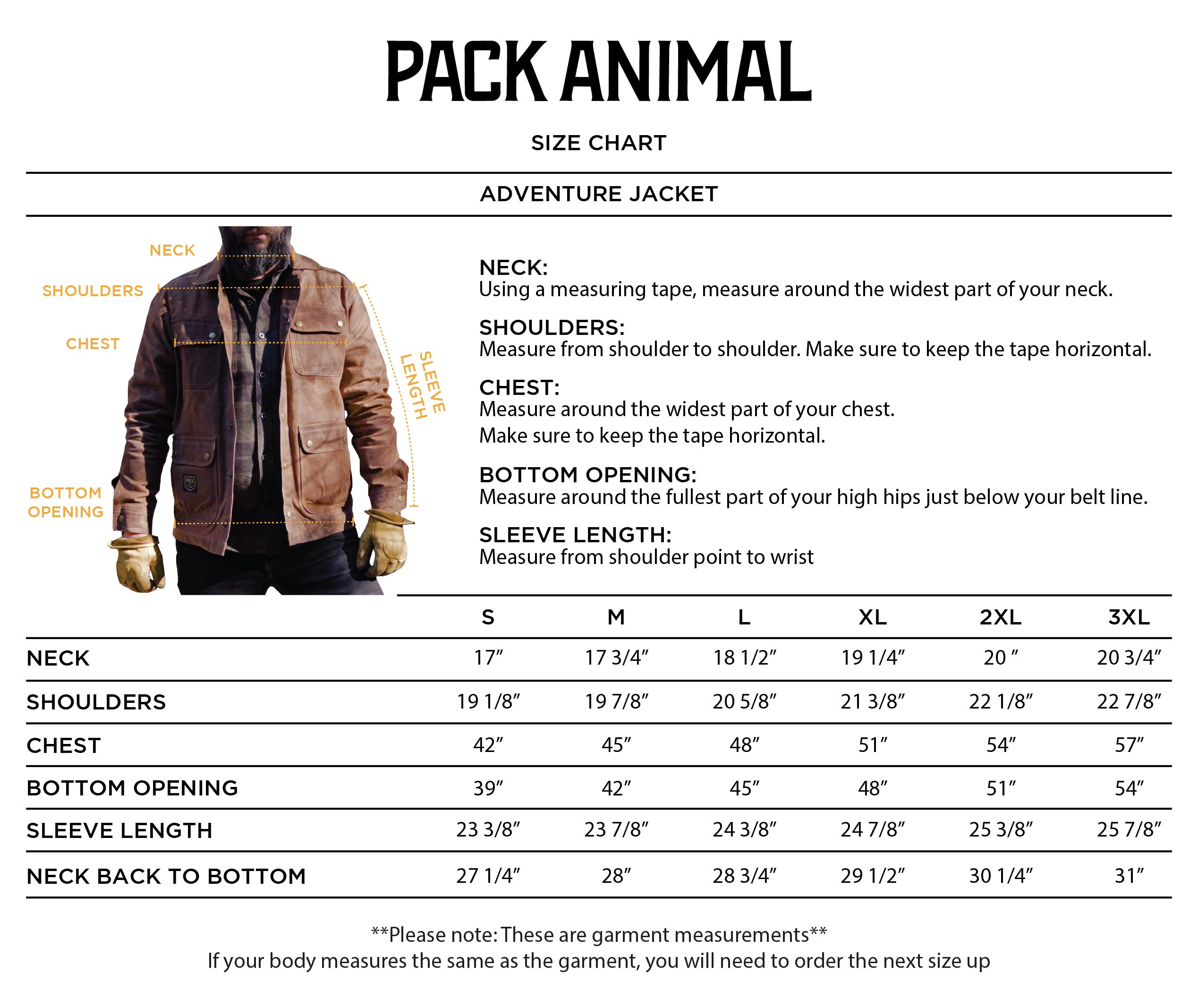 Adventure Jacket Size Guide