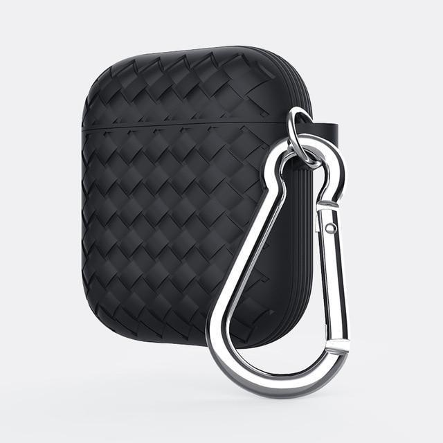 Black Basket Weave AirPods Case Shock Proof Cover-iAccessorize