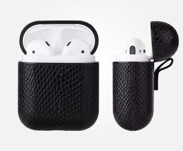 Black Boa Snakeskin AirPods Case Shock Proof Cover-iAccessorize