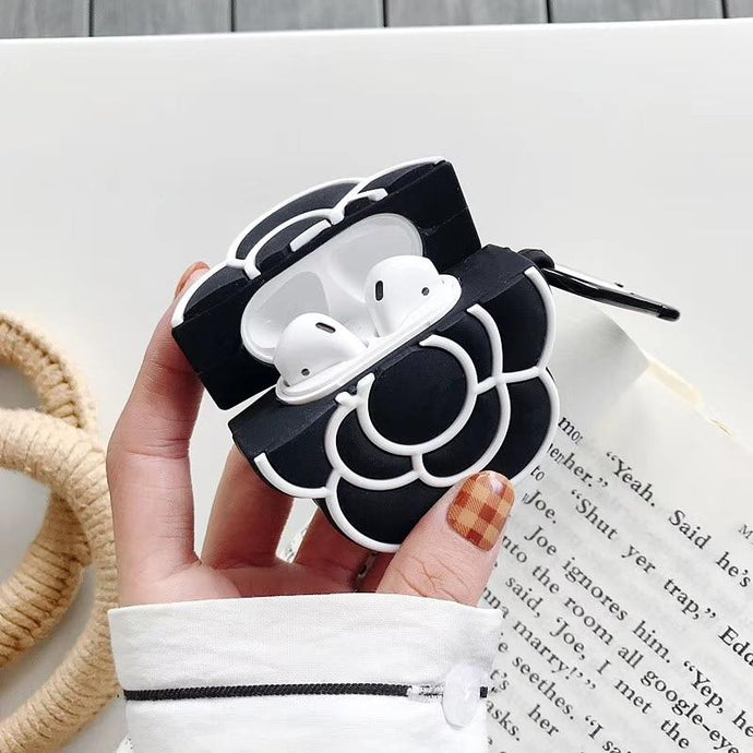 Black Camellia Flower Premium AirPods Case Shock Proof Cover-iAccessorize