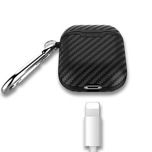 Black Carbon Fiber Airpod Case Shock Proof Cover-iAccessorize