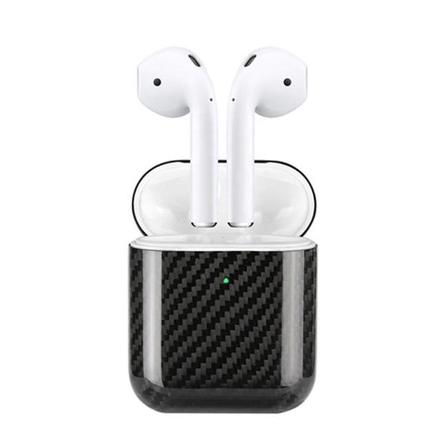 Black Carbon Fiber Premium AirPods Case Shock Proof Cover-iAccessorize