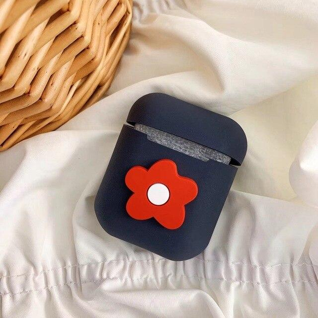 Black Flower AirPods Case Shock Proof Cover-iAccessorize