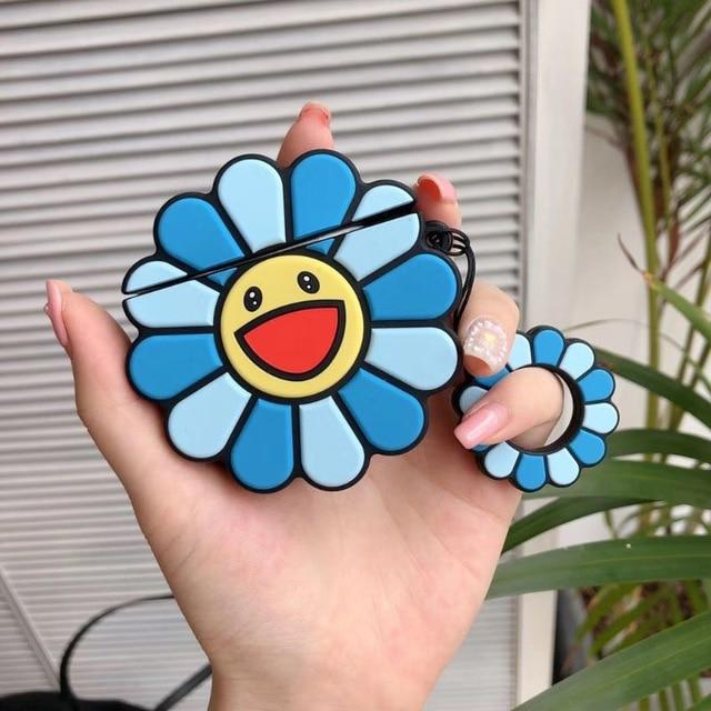 Blue Happy Sunflower Premium AirPods Case Shock Proof Cover-iAccessorize