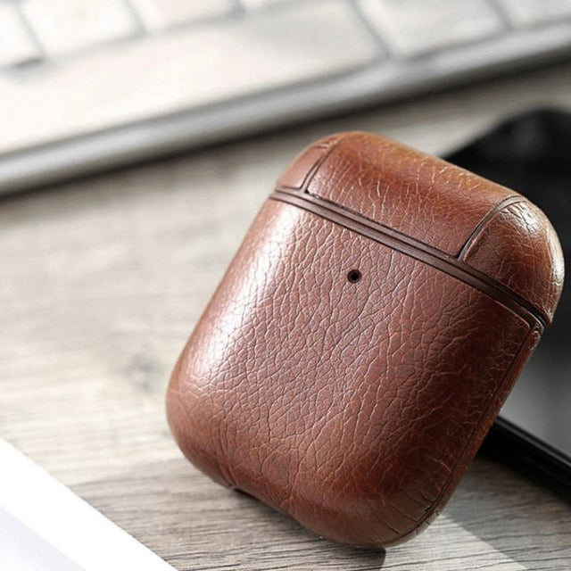 Brown Leather AirPods Case Shock Proof Cover-iAccessorize