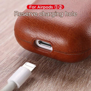 Burgundy Leather AirPods Case Shock Proof Cover-iAccessorize