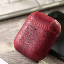 Load image into Gallery viewer, Burgundy Leather AirPods Case Shock Proof Cover-iAccessorize