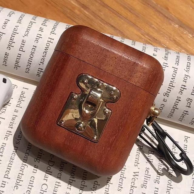 Cherry Wood with Gold Clasp AirPods Case Shock Proof Cover-iAccessorize