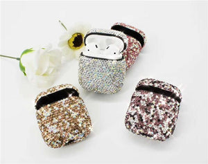 Dark Pink Rhinestone AirPods Case Shock Proof Cover-iAccessorize