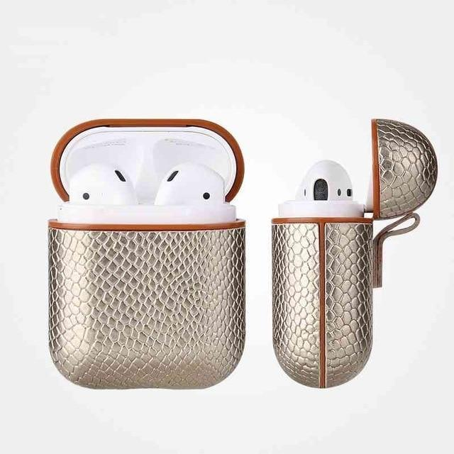Gold Snakeskin AirPods Case Shock Proof Cover-iAccessorize