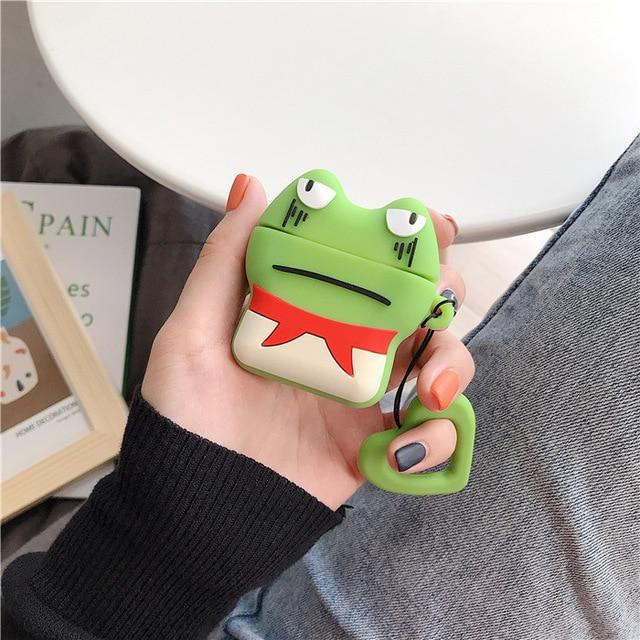Green Grumpy Frog AirPods Case Shock Proof Cover-iAccessorize