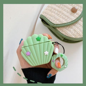 Green Seashell Premium AirPods Case Shock Proof Cover-iAccessorize